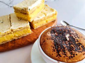 vanilla slice and coffee