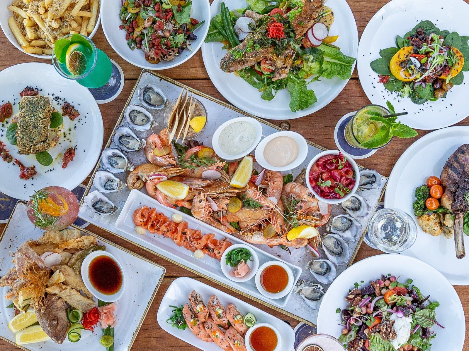 Selection of dishes served at Northerlies Beach Bar & Grill, Whitsundays