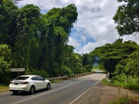 A view of a white car about to cross Cassowary Creek near the town of Mossman.