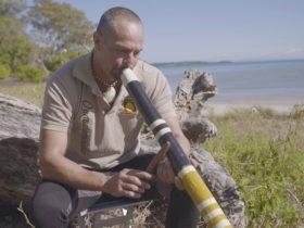 Matt playing didgeridoo