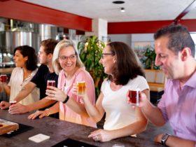 Enjoying beers at the bar at Burleigh Brewing