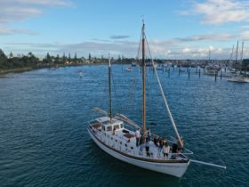 Sailing into the open waters of Mooloolaba Harbour