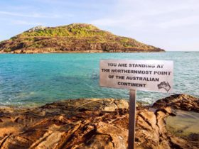 """Sign at The Tip - """"You are standing at the northernmost point of the Australian continent""""."""