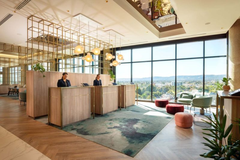 Check-in on Level 10 with amazing Adelaide Hills views and paperless check-in.