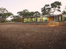 Eco Lodge at Sunset in summer