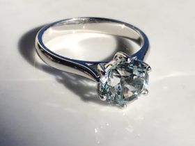 Aquamarine set in white gold