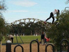 A girl climbing on play equipment at a playground while a local cricket game plays in the background