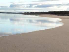 The saline lake surrounded by low sandy rises in Lake Gilles Conservation Park
