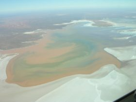 An aerial photo of the dry salt flat of Lake Torrens National Park