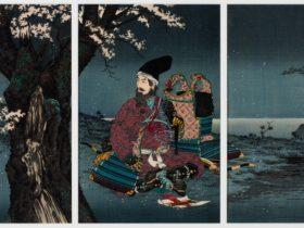 Kobayashi Kiyochika, Japan, 1847 - 1915, Taira no Tadanori (1144–1184) resting under a cherry tree.