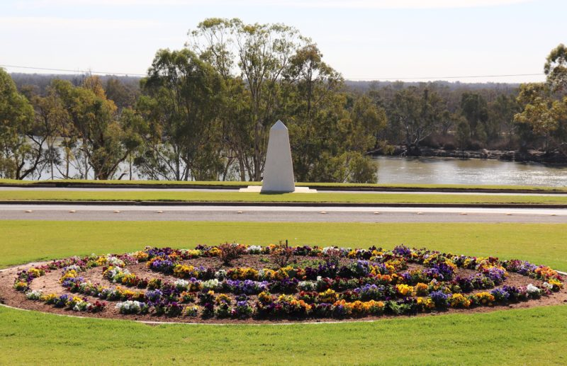 The monument marks Captain Charles Sturt's passing through the region on January 30th, 1830.