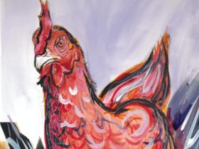 A painting of an angry chicken