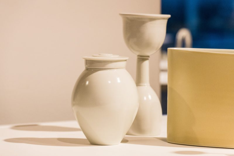Prue Venables, White Tea Caddy, White Funnel and Bottle, Yellow & White Oval . ADC Installation deta