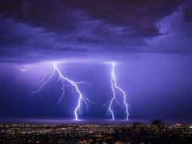 Lightning over Adelaide city