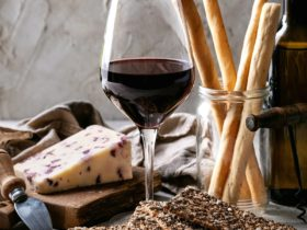 Promo photo of wine, cheese and breadsticks
