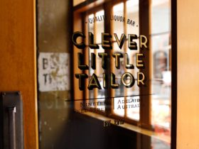 Gold leaf, hand crafted sign at Clever Little Tailor