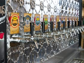 Beer taps with pressed metal background