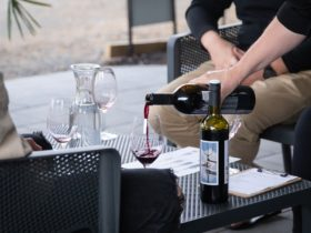 Enjoy wine and views on our patio