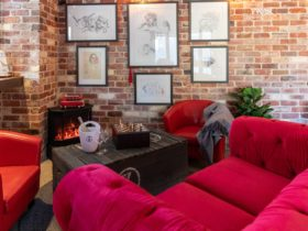 Lounge area at The General Wine Bar, featuring Zonte's Footstep label art on the wall