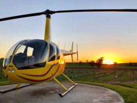 Barossa helicopters base sunset image