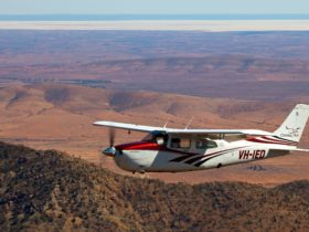 Chinta Air, the scenic flight specialists, flying above Wilpena Pound.
