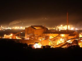 Whyalla Steelworks at night