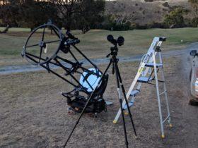 large telescope + binoculars