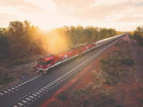 The Ghan heading south at Katherine in the Northern Territory