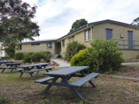 Picnic area and Dormitory building