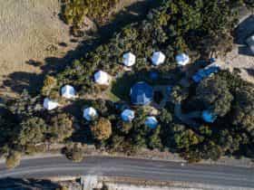 aerial view of campsite