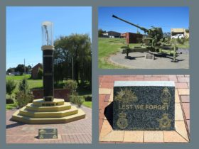 Lest We Forget - plaque, cenotaph, and Bofors gun