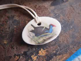 Flinders Island made ceramic necklace with vintage Purple Swamphen illustration
