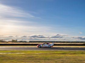 Supercars racing at Symmons Plains Raceway Tasmania
