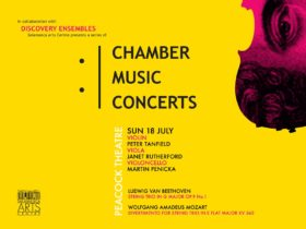 A yellow background poster advertising the Chamber Music Concert at SAC on 18 July 2021
