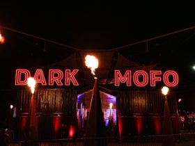 Fire and warm neon lights at the entrance gates to the Dark Mofo Winter Feast on Hobart waterfront