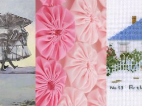 "Jo Chew, ""Journeying Home"" (detail), 2020, Oil on canvas Andrea Green, ""Bullseye no.2"" (detail), 202"