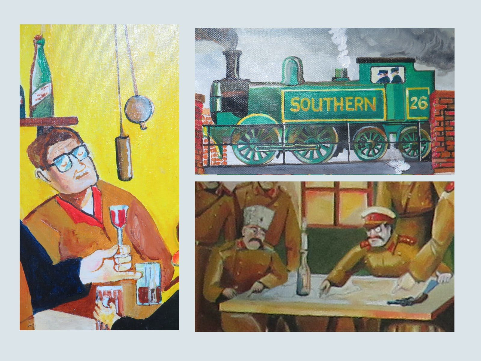 Collage : Wine, train and Russians