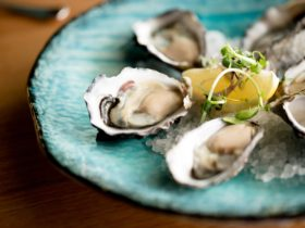 Freshly split Tasmanian Pacific Oysters at Pearl + Co