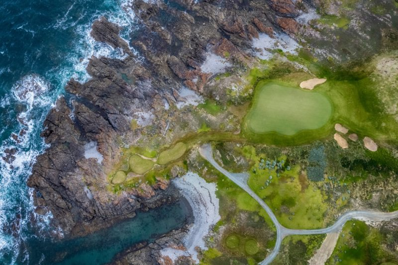 Aerial view of Ocean Dunes golf course and coastline