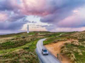 Cruising near Cape Wickham Lighthouse