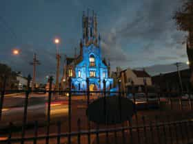 Church lit up