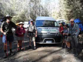 A group of keen bush walkers ready to undertake the Overland Track