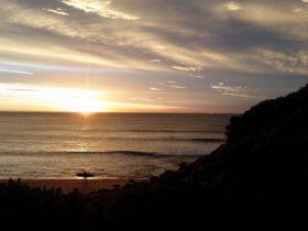 sufring sunrise Bells Beach