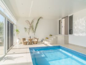 Indoor solar heated pool