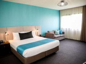 Image capturing the bed and feature wall.