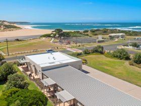 Aerial photo towards beach