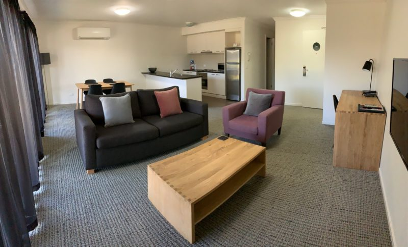 One and two bedroom apartment living area