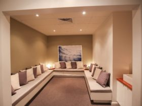 Enjoy a refreshment in our relaxation lounge before your treatment