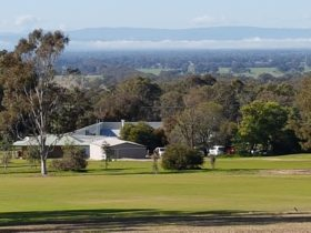 Overlooking the clubhouse to the Ovens valley
