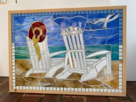 Beach Peace Day Out Mosaic Chair Art